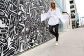 the courtney kerr,blogger,blouse,shirt,bell sleeves,spring outfits