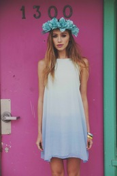 dress,summer,blue,girly,fading color,white,rosy style,ombre,blue dress,hipster,hippie,white dress,graduation dresses,graduation,girl,hat,fade,blouse,long blouse,cute,skirt,flower crown,mix,moonwashed,short,fluffy,light blue,summer dress,loose dress,tunic dress,blue flower crown,ombré dress,summer holidays