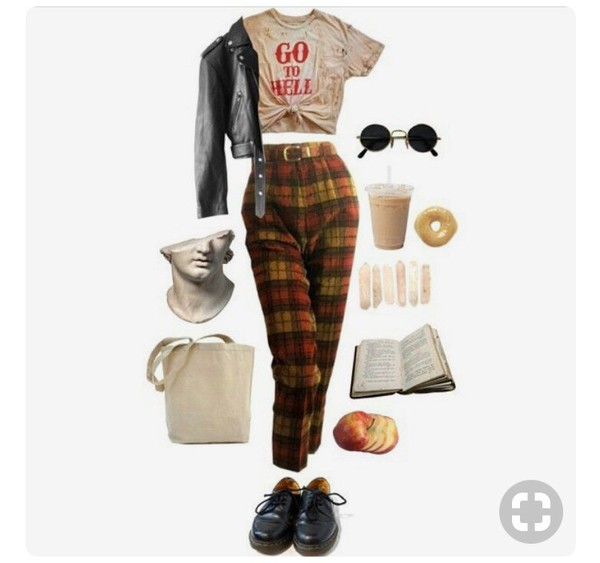 pants muted colors pants casual tartan plaid grunge soft grunge multicolor faded red yellow blue grey nice aesthetic tumblr outfit tumblr pinterest