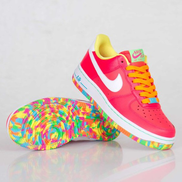 shoes nike rainbow pink orange playdough sole blue yellow unreal summer  trainers sports shoes nike air