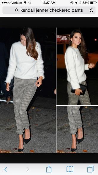 pants plaid pants checkered pants kendall jenner