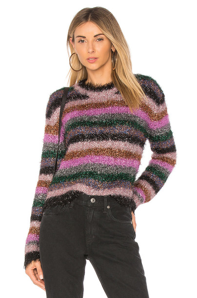 MILLY sweater fringe sweater pink