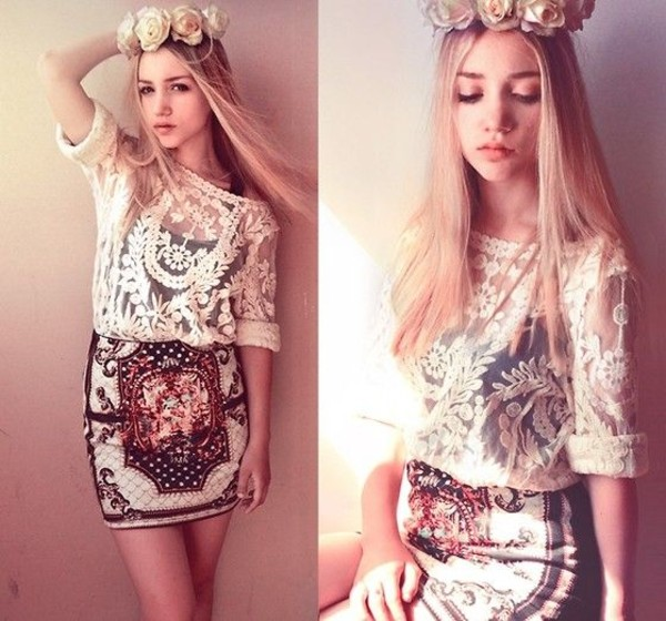 skirt lace top aksinya air self made flower crown flower crown shirt hat ukraine