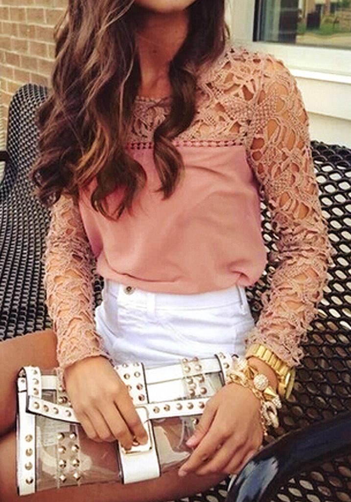 Neutral Pink Crochet Shoulder - Top | Lookbook Store