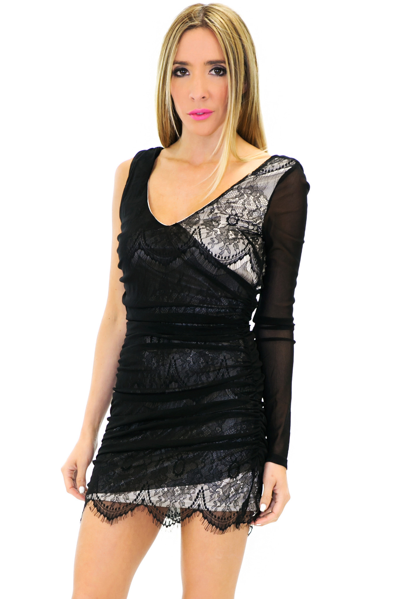 ONE SHOULDER LACE DRESS - Black/Cream | Haute & Rebellious
