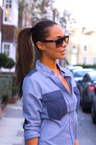 blouse blue bluse jeans hot cute summer office outfits spring sunglasses