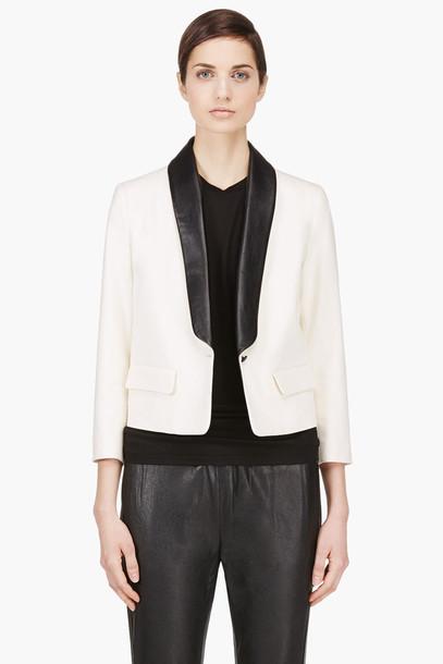 cream leather collar blazer clothes women outerwear blazers jacket