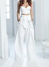 pants,High waisted shorts,high waisted pants,maxi skirt,white,crop tops,bustier,bustier top,blouse,palazzo pants,tank top
