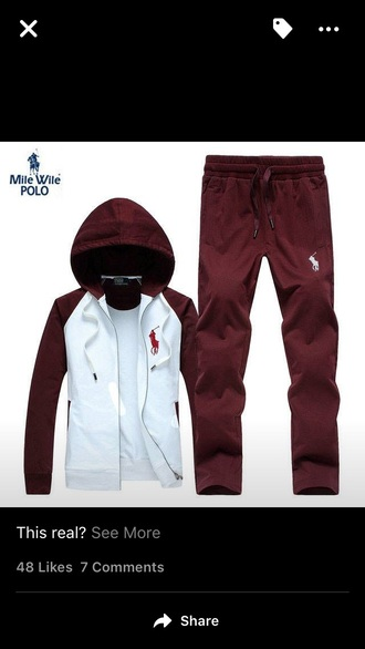 jumpsuit burgundy chocolate red polo jacket polo jumpsuit custom customize jacket pants sweatpants sweat sweats zip-up zip up jacket red polo sweater ralph lauren polo polo sport polo shirt white horse rare very rare