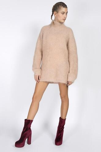 shoes sweater sweater dress velvet boots hailey baldwin model platform boots
