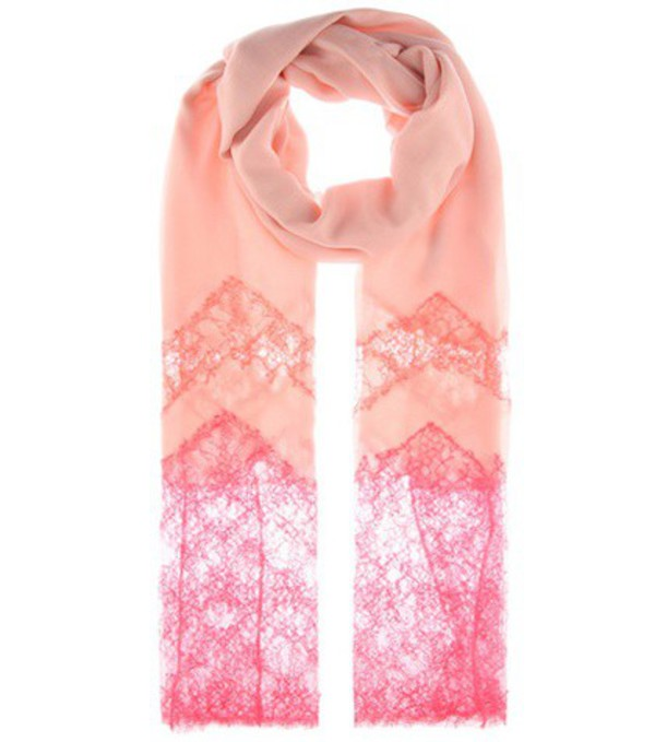 Valentino Cashmere-blend and lace scarf in pink