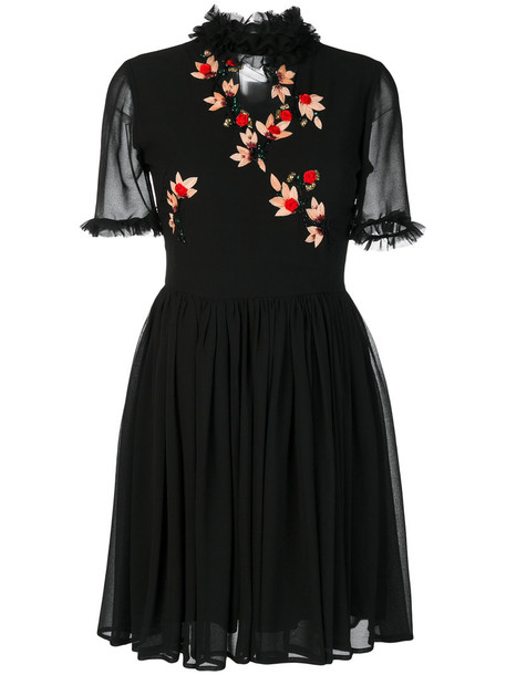 Blugirl dress ruffle dress embroidered ruffle women black
