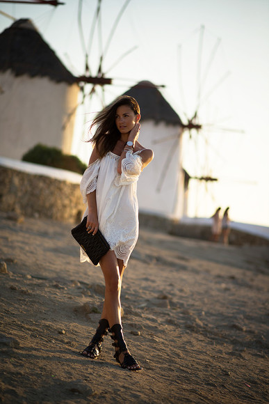 white crochet shoes lace cute dress boho hippie fesitval fashion vibe bag off the shoulder blogger fashion