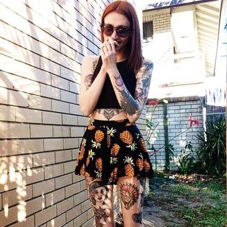 grunge skirt pineapple print pineapple summer outfits summer summer top outfit crop tops black crop top black skirt sunglasses earphones top