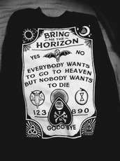 sweater,sweatshirt,pullover,sweater weather,black,white,bring me the horizon,bring me the horizon sweatshirt,bring me the horizon sweater,bring me the horizon pullover,bmth sweater,bmth sweatshirt,merch,band merch,bring me the horizon merch,heaven,death,die