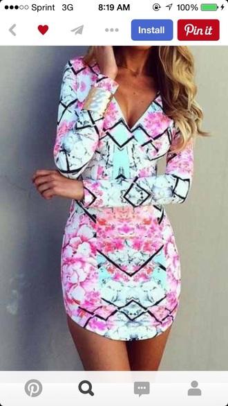 dress pink and mint dress long sleeve short dress