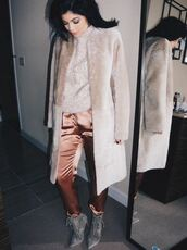 pants,kylie jenner,fashion week 2016,instagram,pointed boots,grey boots,suede shoes,silk,dusty pink,fur coat,beige sweater,winter outfits,sweater weather,beige coat,NY Fashion Week 2016,jacket,prom,satin,shoes,lace up heels,suede,suede boots,ankle boots