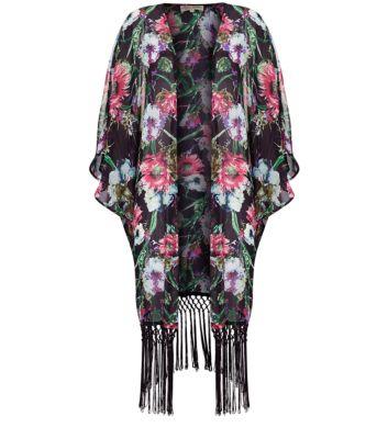 Parisian Black Floral Print Tassel Hem Longline Kimono