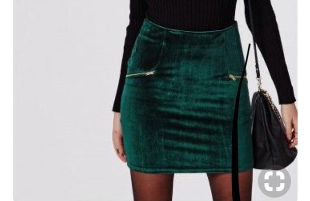 skirt green velvet