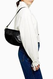 bag,shoulder bag,black,crocodile