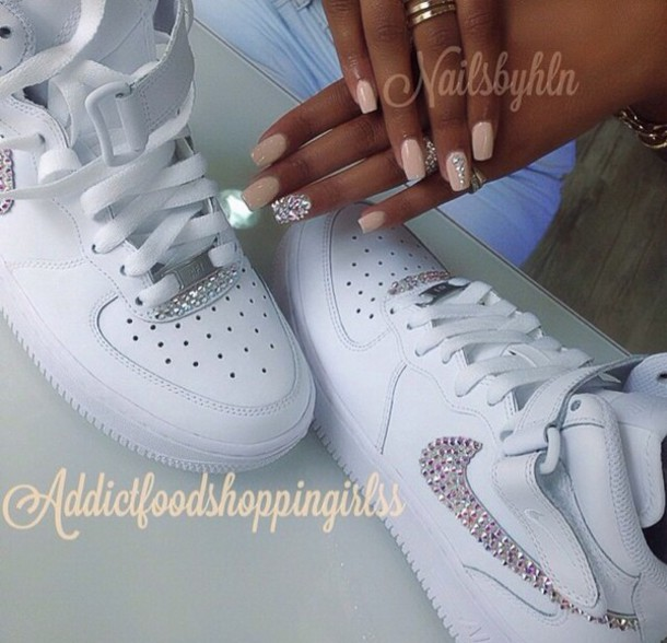 shoes, white sneakers, nike air force 1, jewels, rose gold, rhinestones, cute, nail art - Wheretoget