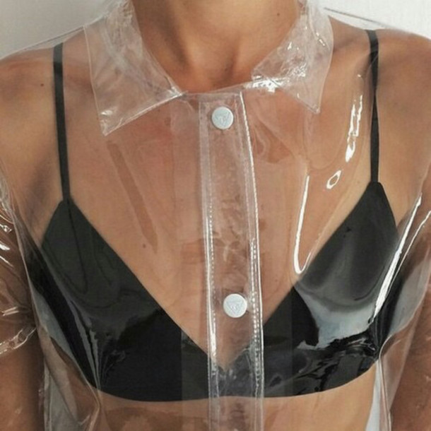 coat raincoat jacket top bra black see through transparent clear hipster sweater shirt cyber ghetto kawaii pastel goth pastel cyber brallette