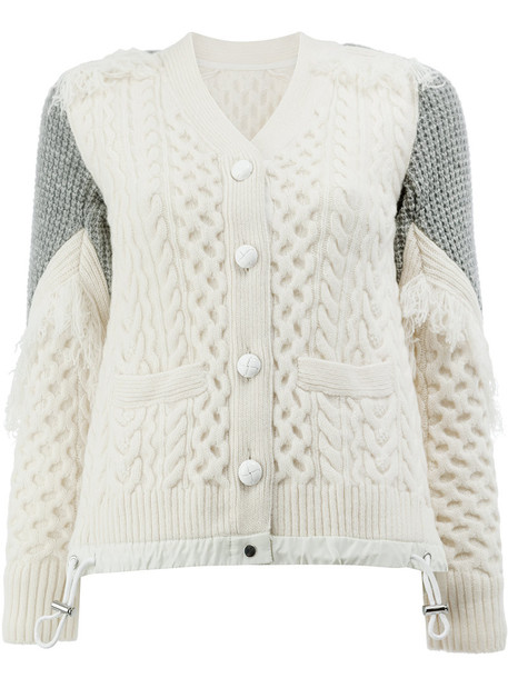Sacai cardigan cardigan women white wool knit sweater