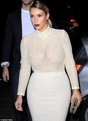top,white,mesh,kim kardashian,white long sleeve