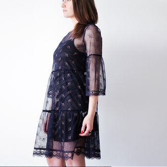 dress blue black dress festival style boho style boho dress laces lace dress blue lace dress bohemian dress bohemian bohemian style bohemian wedding dress romantic transparent transperant embroidered embroidery embroidered dress embroiderry dress hippie hippie chic hippies hippie style short usa short dress