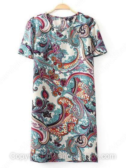 Blue Short Sleeve Flowers Print Dress - HandpickLook.com