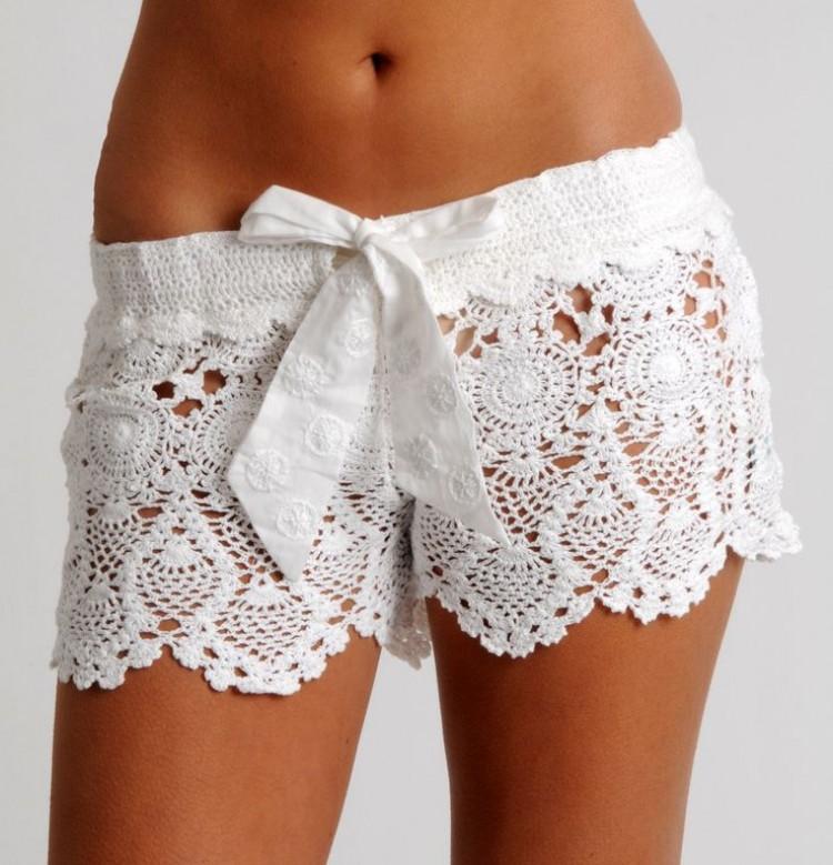 Essentials crochet shorts white