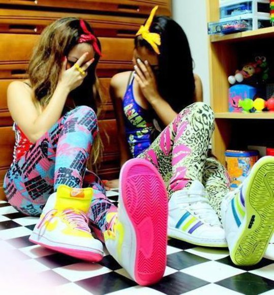 nike swag shoes leggings leopard print neon adidas