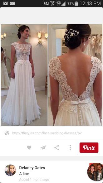 dress wedding dress wedding dress lace white dress cut out back pretty dress simple dress simple wedding dresses