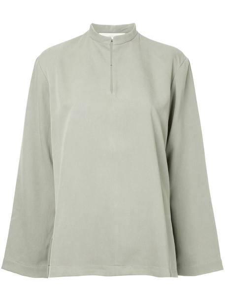 blouse women silk green top