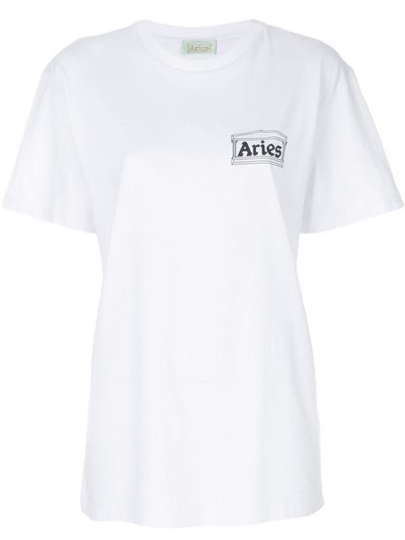 Aries t-shirt shirt printed t-shirt t-shirt women white cotton top