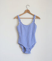shirt,bodysuit,hipster,stripes,tumblr,swimwear,stripped swimwear,blue,white,blue and white striped,blue bathing suit,retro,one piece,one piece swimsuit,jumpsuit,blue and white