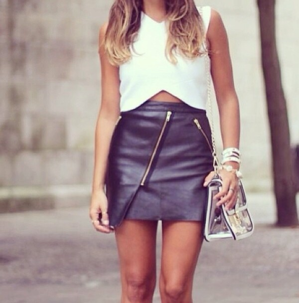 skirt leather black leather skirt summer black blouse fashion girly