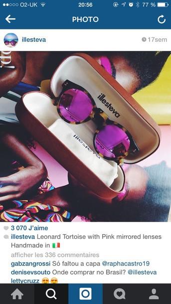 sunglasses illesteva glasses pink sunglasses tortoise glasses style fashion summer spring mirrored sunglasses