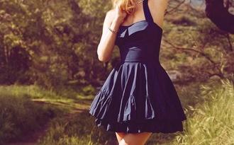 dress navy blue cotton skater dress puffy dress