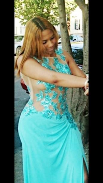dress aqua dress slit glitter prom dress