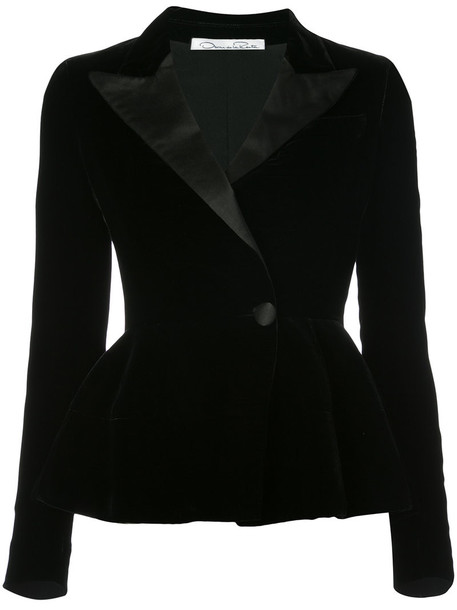 oscar de la renta jacket women black velvet