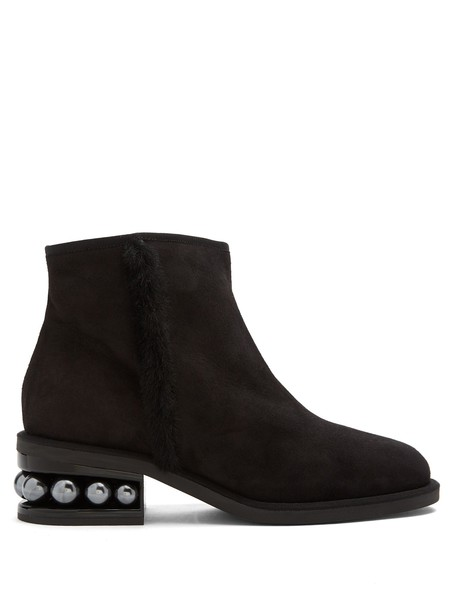 Nicholas Kirkwood suede ankle boots pearl ankle boots suede black shoes