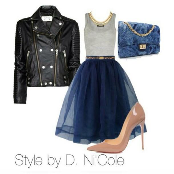 jacket shoulder bag skirt tank top bag heel pumps dress shoes