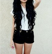 shorts,black,clothes,blouse,shirt,short pants,long hair,black shorts,gold studs,High waisted shorts,studded shorts,cute,studded,studs,top,brandy melville,denim shorts,fashion,tumblr outfit,tumblr shorts,white top,tumblr,jewels