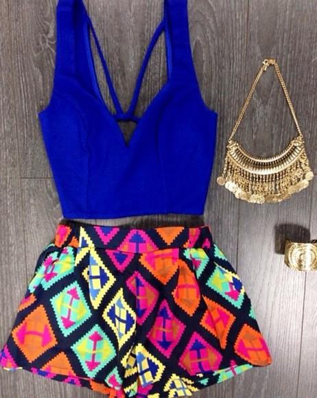 shorts crop tops neon
