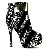 shoes,heels,high heels,ankle boots,booties,stilettos,platform high heels,black and white,geometric print,fashion,boots,tribal pattern,geometric,sexy heels,streetstyle