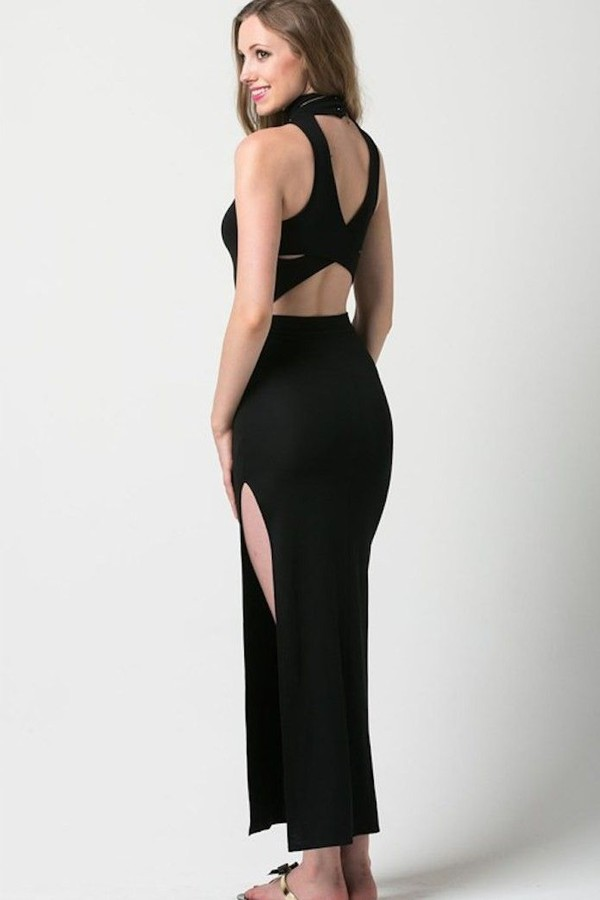 black maxi dress black dress maxi dress strap back dress high neck maxi dress asymmetrical dress www.ustrendy.com dress