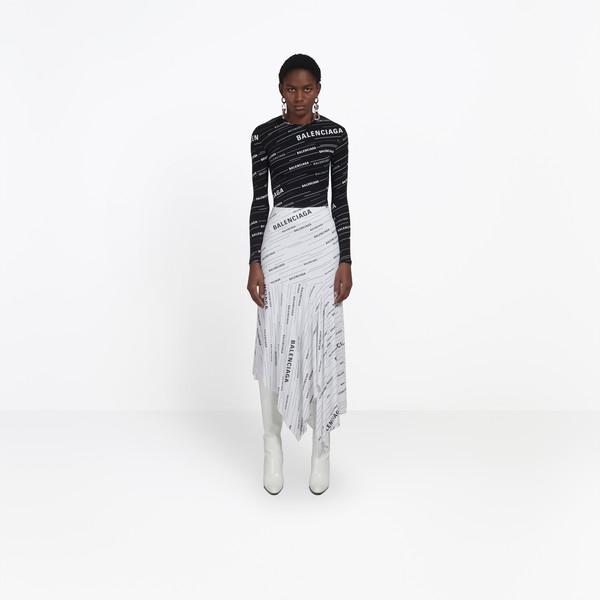Ruffle Skirt  White/ Black  for Women | Balenciaga