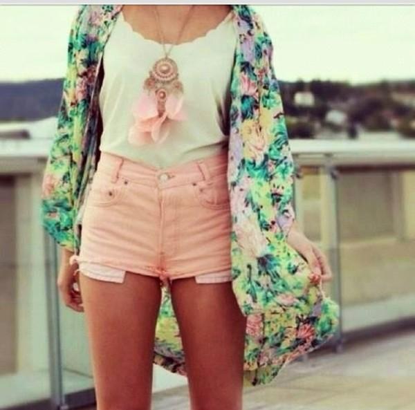 jacket floral shorts blouse jewels summer