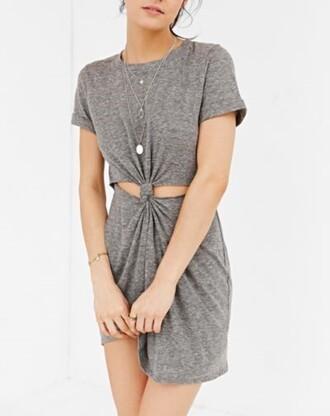dress grey knot dress knot dress cut-out dress grey dress shirt dress t-shirt dress summer